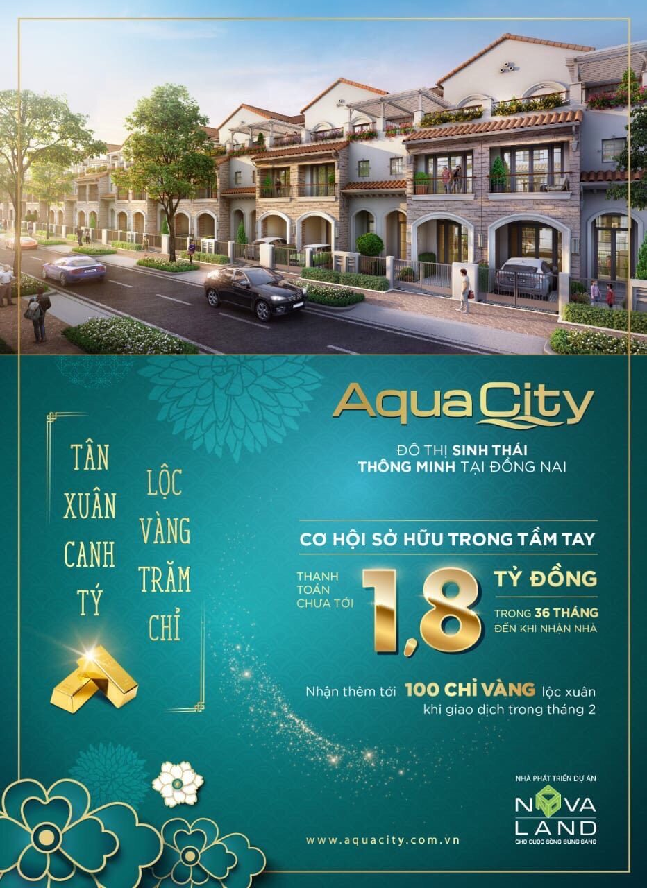 Cơ hội sở hữu nhà phố Aqua City thanh toán chỉ 1.8 tỷ có cam kết lợi nhuận tới 45% trong 3 năm