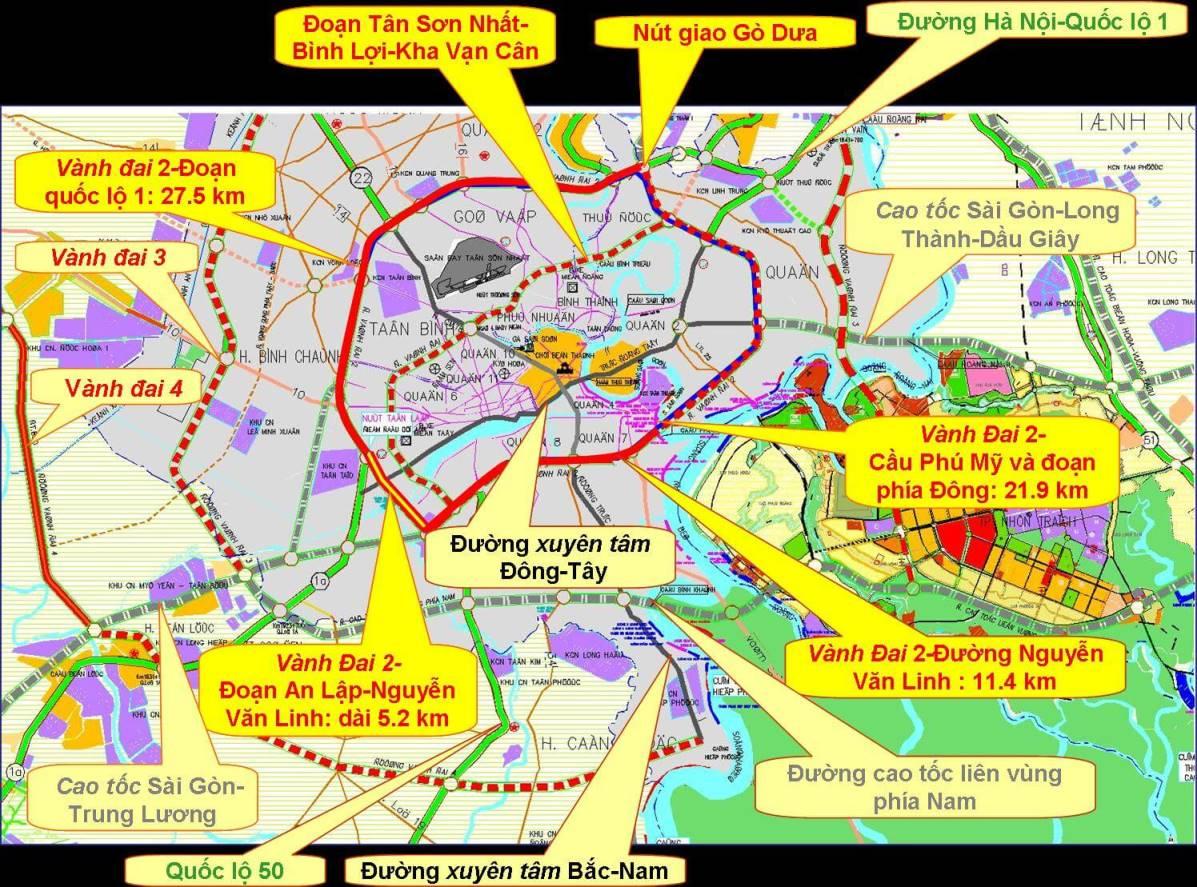 Chi tiết bản đồ tuyến đường vành đai 2 tại Thành phố Hồ Chí Minh.