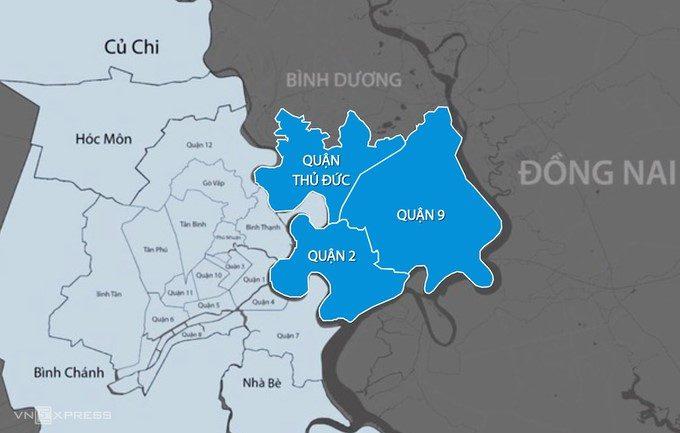 Thành phố Thủ Đức được lập trên cơ sở sáp nhập 3 quận 2, 9 và Thủ Đức.