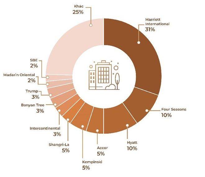 Tỷ lệ dự án của các thương hiệu bất động sản hàng hiệu trên toàn cầu.