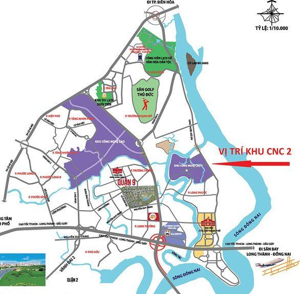 Bản đồ vị trí khu công nghệ cao 2 ở Long Phước, thành phố Thủ Đức rộng 166ha
