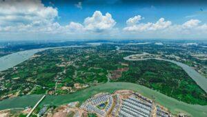 Hình ảnh thực tế vị trí khu công nghệ cao 2 ở Long Phước, thành phố Thủ Đức nhìn từ đô thị Vinhomes Grand Park và cầu Long Đại.