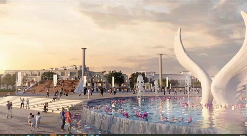 Đài phun nước Đôi cánh cao 12m tại quảng trường bến du thuyền Aqua Marina